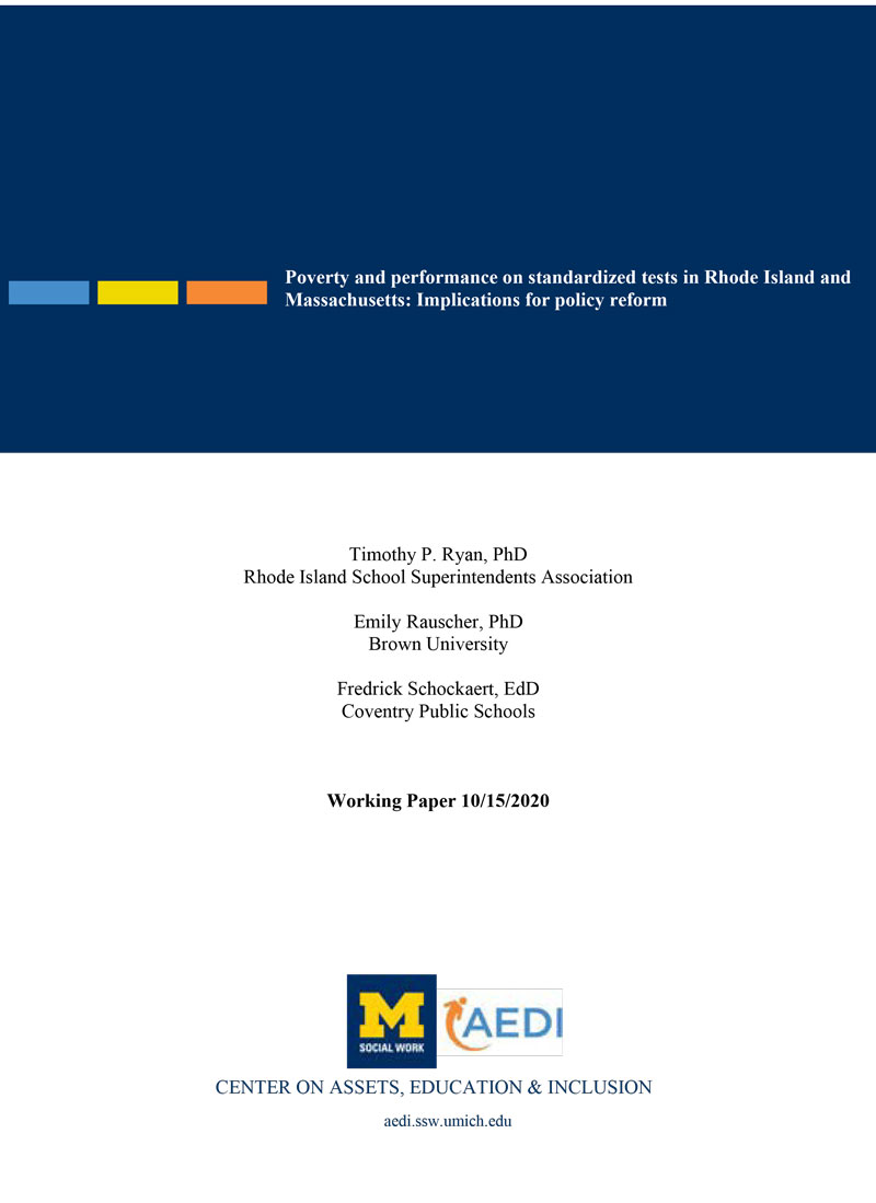 Poverty and performance on standardized tests in Rhode Island and Massachusetts: Implications for policy reform